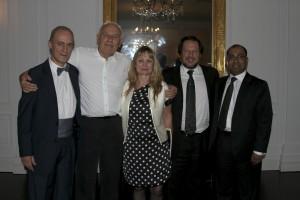 Dres. JC Andreani,  T. Goroszeniuk, N. Rosenfeld, F. Piedimonte y A. Bhaskar  durante la cena de profesores del Congreso Polaco de Neuromodulación.